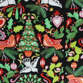 Alexander Henry fabric Christmas time - black Paloma Navidad x 10cm