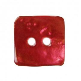 Bouton nacre carré rouge