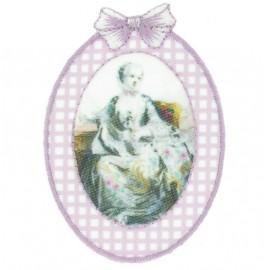 ♥  Gingham romantic portrait iron-on applique - pink ♥
