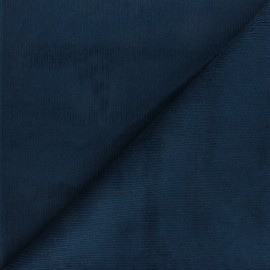 Ribbed velvet fabric Dustin - navy blue x 10cm