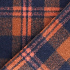 Coat sheet Fabric - Orange/Navy blue Montréal x 10cm