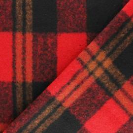 Tissu Drap manteau Montréal - rouge/noir x 10cm
