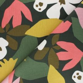 Tissu toile de coton Ewa - vert foncé x 50cm
