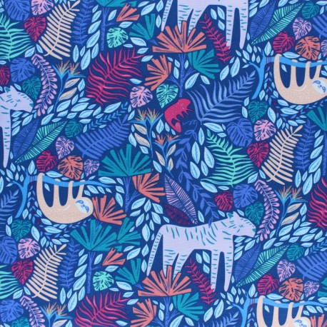 AGF Cotton fabric - blue Junglen Jolly x 10cm