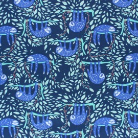 AGF Cotton fabric - blue Swaying Sloths x 10cm