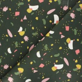 Tissu toile de coton Hania - rose/vert x 10cm