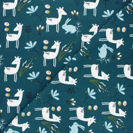 Jersey cotton fabric - Peacock blue Faola x 10cm