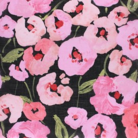 Cloud 9 voile cotton fabric - black Pink Poppies x 10 cm