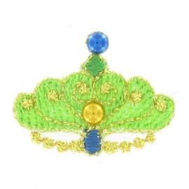 Crown iron-on applique - green
