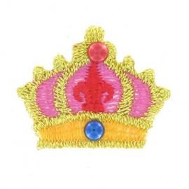 Crown iron-on applique - pink/golden