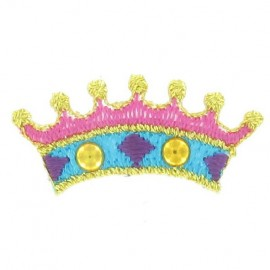 Little Crown iron-on applique - blue/pink