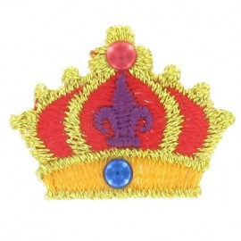 Crown iron-on applique - red/golden