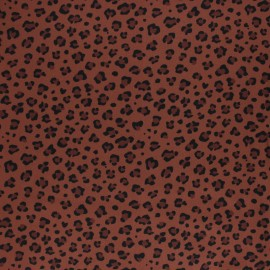 Twill viscose fabric - Brick red Leaf x 10 cm