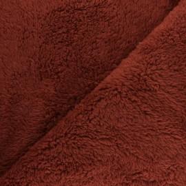 Reversible fur fabric - brick Atlas x 10cm