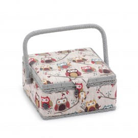 Small Size square Sewing Box - Hibou