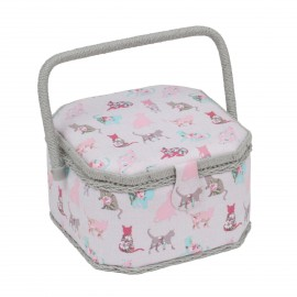 Medium Size octogonal Sewing Box - Cats