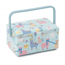Medium Size Sewing Box - Winter Lama