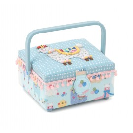 Square Sewing Box - Winter lama