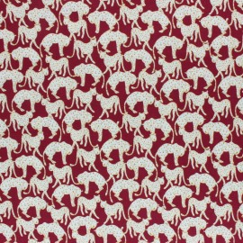 Twill viscose fabric - Burgundy Panther x 10 cm