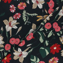 Tissu crêpe élasthanne Floralie - noir x 10cm