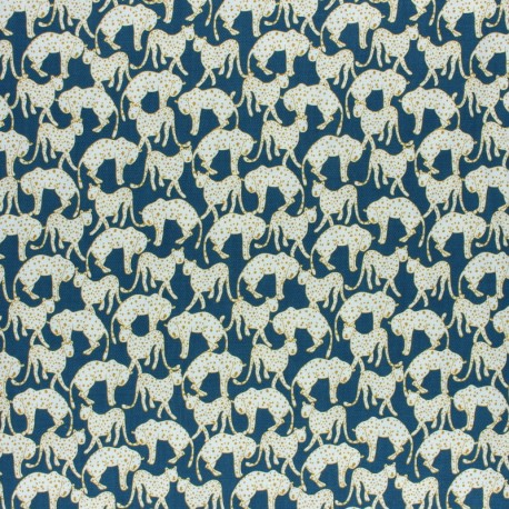 Twill viscose fabric - Peacock green Panther x 10 cm