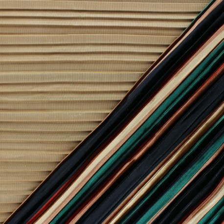 Elastane pleated velvet fabric - Beige Léonie x 10cm