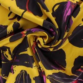 Tissu satin polyester Miranda - jaune x 10cm