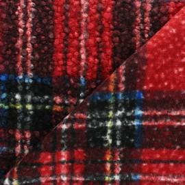 Tissu fourrure Astrakan Lahore - rouge x 10cm