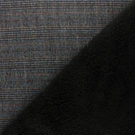 Tissu Prince de galles envers fourrure - gris x 10cm