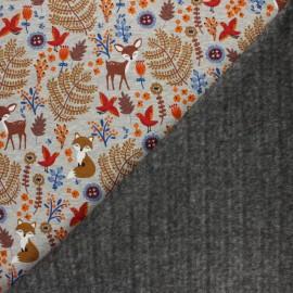 Tissu sweat envers minkee Louise et Simon - gris chiné/bleu x 10cm