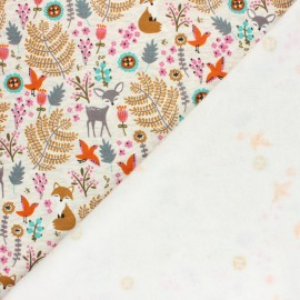 Sweatshirt fabric with minkee - Mottled raw/turquoise Louise et Simon x 10cm