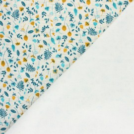 Tissu sweat envers minkee Le jardin de mia - écru chiné/moutarde x 10cm