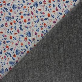 Tissu sweat envers minkee Le jardin de mia - gris chiné/violet x 10cm