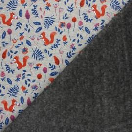 Tissu sweat envers minkee Le jardin de mia - gris chiné/orange x 10cm