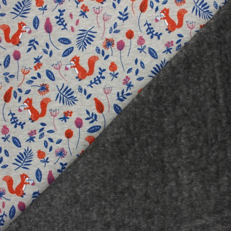 Sweatshirt fabric with minkee - Mottled grey/orange Le jardin de mia x 10cm