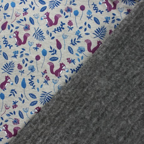 Sweatshirt fabric with minkee - Mottled grey/orange Mia l'écureuil x 10cm