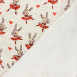 Tissu sweat envers minkee Lapine ballerine - écru chiné/rose x 10cm