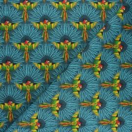 Cretonne cotton fabric - Slate blue Nénuphar x 10cm