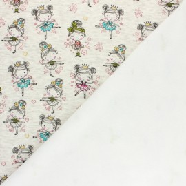 Tissu sweat envers minkee Tiny dancer - écru chiné/vert x 10cm