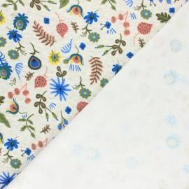 Tissu sweat envers minkee Jardin fleuri - écru chiné/bleu x 10cm