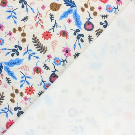 Sweatshirt fabric with minkee - Mottled raw/bleu Jardin fleuri x 10cm