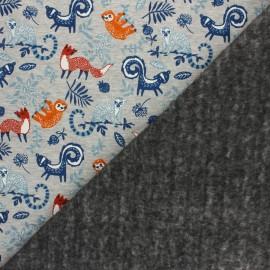 Tissu sweat envers minkee Le monde de Dario - gris chiné/orange x 10cm