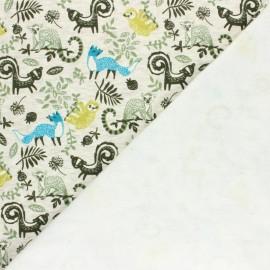 Tissu sweat envers minkee Le monde de Dario - écru chiné/vert x 10cm