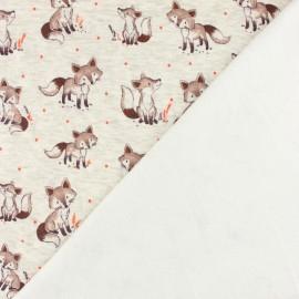 Tissu sweat envers minkee Barnabé le renard - écru chiné/rouge x 10cm
