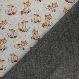 Tissu sweat envers minkee Barnabé le renard - écru chiné/moutarde x 10cm