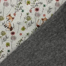 Tissu sweat envers minkee Jardin de Barnabé - gris chiné/rose x 10cm