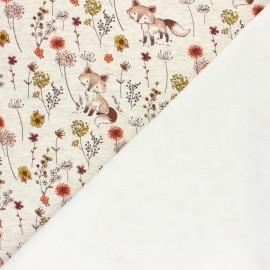 Tissu sweat envers minkee Jardin de Barnabé - écru chiné/rouge x 10cm