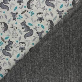 Tissu sweat envers minkee Sous-bois joli  - gris chiné/gris x 10cm