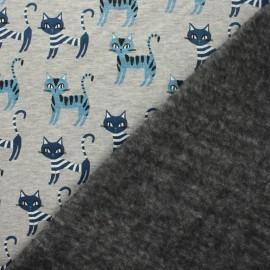 Tissu sweat envers minkee Minouche - écru chiné/gris x 10cm