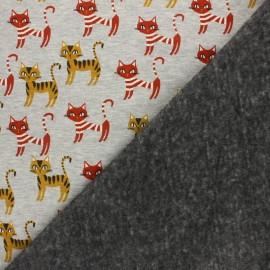 Sweatshirt fabric with minkee - Mottled grey/red Minouche x 10cm